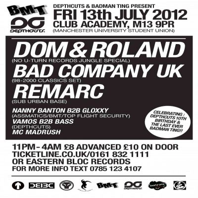 BMT vs DEPTHCUTS Tickets | Manchester Club Academy Manchester  | Fri 13th July 2012 Lineup