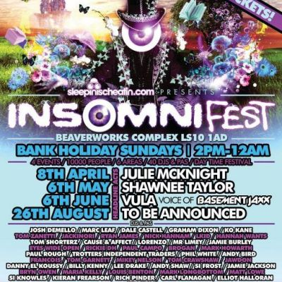 INSOMNI-FEST | Sunday 8th April  Tickets | Beaver Works Leeds  | Sun 8th April 2012 Lineup
