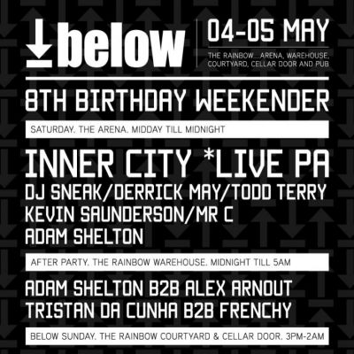 Below 8th Birthday in The Arena Tickets | The Rainbow Complex Birmingham  | Sat 4th May 2013 Lineup
