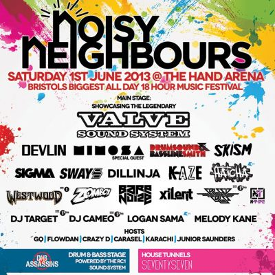 Noisy Neighbours 2013 Tickets | The Hand Arena Bristol  | Sat 1st June 2013 Lineup
