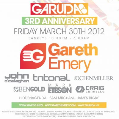 Garuda Tickets | Sankeys Manchester  | Fri 30th March 2012 Lineup